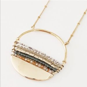 Express gold beaded pendant necklace